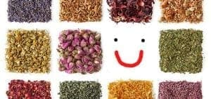 herbal teas and a smilie face