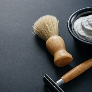 shaver, brush and cream