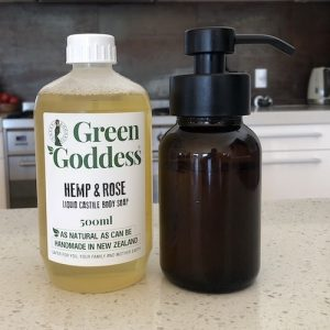 Amber Glass Foaming Soap Bottle with Hemp & Rose Liquid Castile Body Soap