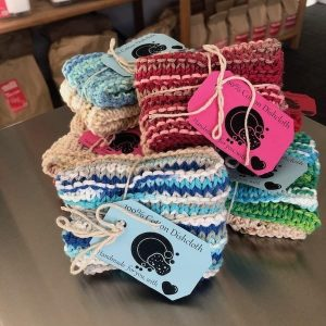 handmade dishcloths, sold in store