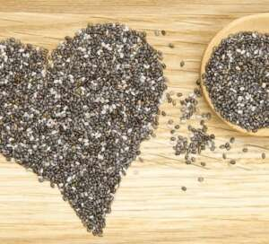 chia seeds in a heart on board