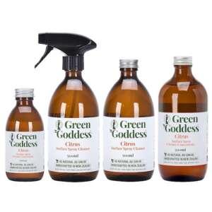 Green Goddess Citrus Multipurpose Surface Spray Cleaner in glass