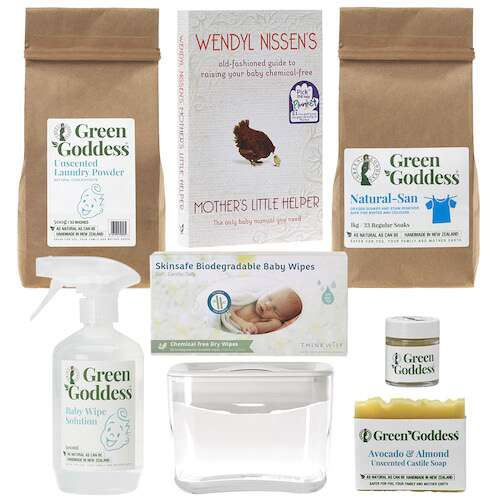 natural baby product gift pack with mothers little helper book