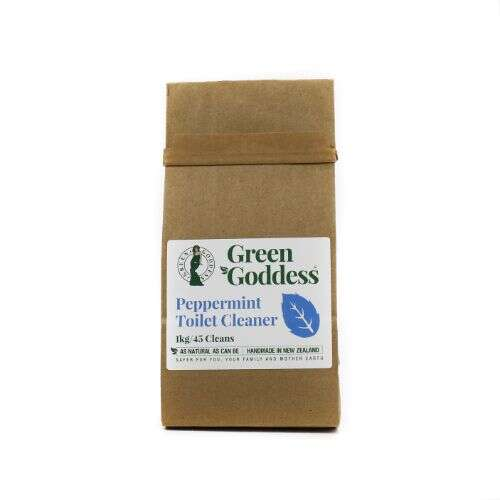 Green Goddess natural peppermint toilet cleaner in home compostable bag