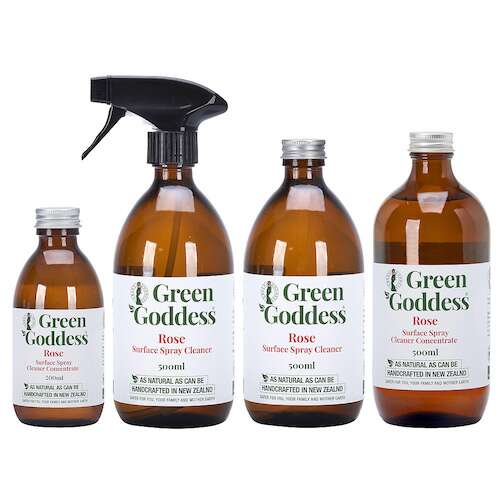 Green Goddess rose multipurpose surface spray cleaners in glass