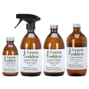 Green Goddess Lemon Thyme Bathroom and Shower Spray cleaner in glass