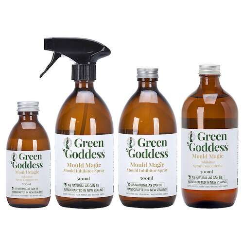 Green Goddess Mould Magic mould inhibitor spray in glass bottles
